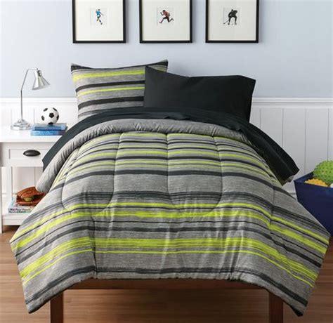 queen mainstays urban stripe bed in a bag coordinated bedding set mainstays stripe melange bed in a bag bedding set walmart ca