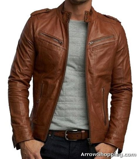 Jaket Camel Kulit Domba arrow handmade brown biker leather jacket