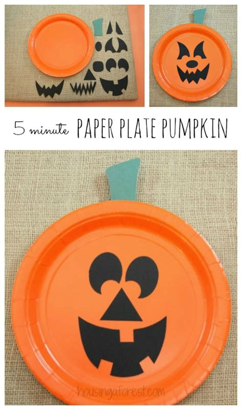 pumpkin paper plate craft paper plate jackolantern the easiest pumpkin