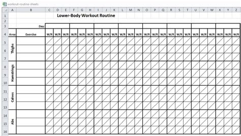 workout template excel excel workout routine sheets workout sheets