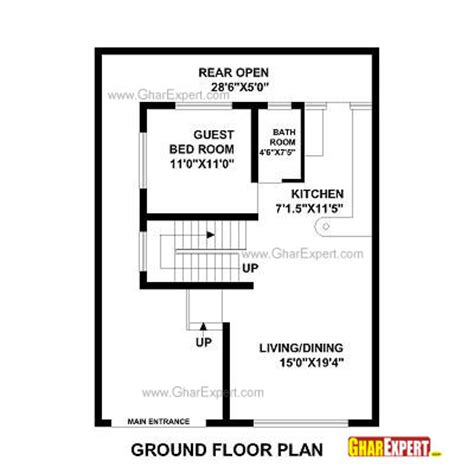 square feet into gaj house plan for 30 feet by 40 feet plot plot size 133