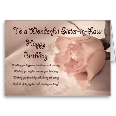 in law happy birthday cards to sister in law