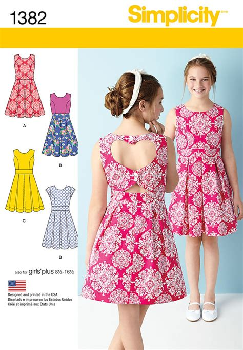 dress pattern heart back simplicity 1382 girls girls plus dress with back variations