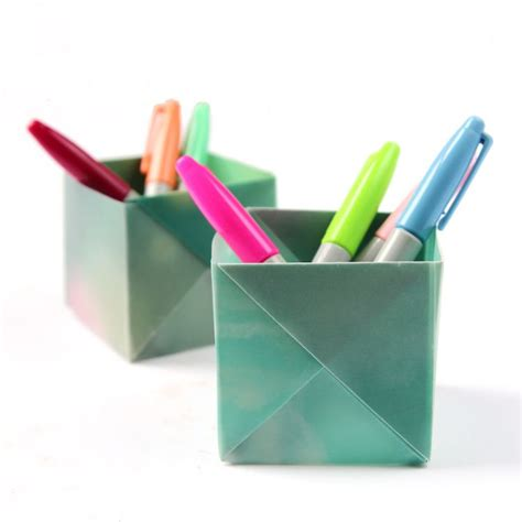 Origami Pencil Holder - back to school problems cluttered desks and tidy solutions