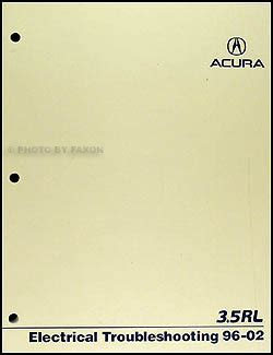 1996 acura 3 2 tl electrical troubleshooting manual 1996 2002 acura 3 5 rl electrical troubleshooting manual original