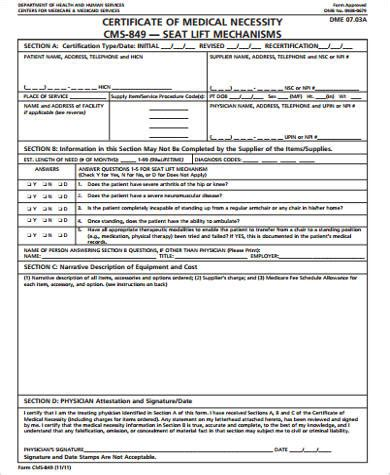 9 Sle Medical Necessity Forms Sle Templates Certificate Of Necessity Form Template