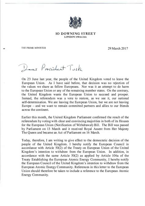 Lettre De Motivation Suite A Recommandation Brexit La Lettre De Theresa May 224 Donald Tusk