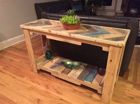 Wood Pallet Reclaimed Sofa Table 101 Pallets Pallet Sofa Table