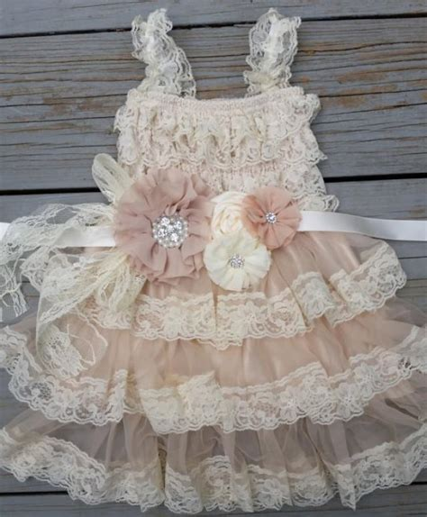 lace flower girl dress chagne flower girl dress shabby chic flower girl dress rustic flower