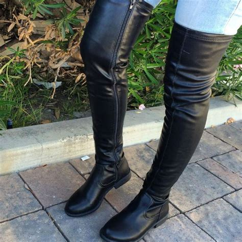 editor s note faux leather thigh high toe boot