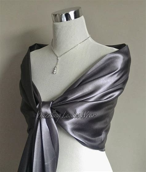 Pasmina Silver Foam 3 silver or light silver grey satin shawl large satin shawl wrap stole bolero shrug