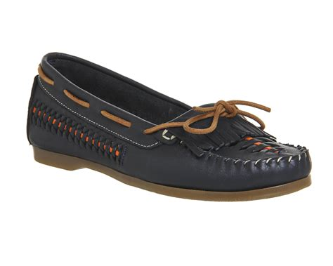 womens office woven boat shoes navy leather flats