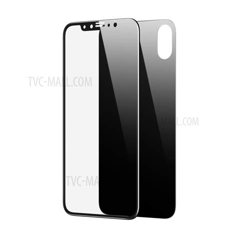 Baseus 3d Tempered Glass Front Back Iphone X Ten baseus cover front and back tempered glass protector for iphone x 5 8 inch black