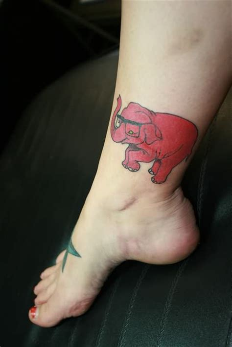 elephant tattoo around ankle red elephant tattoo on ankle