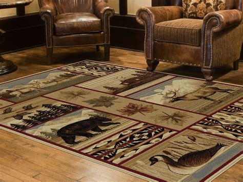 Wildlife Area Rugs Tayse Rugs Nature Scenic Wildlife Lodge Area Rug 5 3 X 7 3 Home Home Decor Rugs