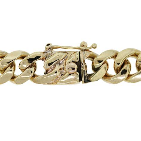 14kt yellow gold s cuban link bracelet