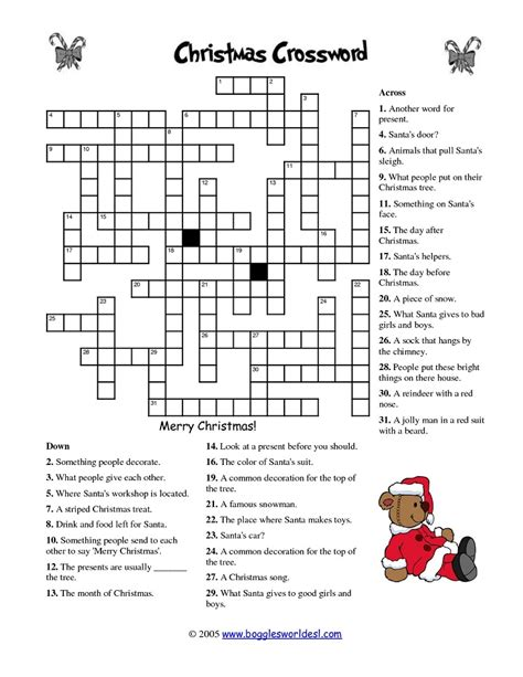 printable puzzle 20 fun printable christmas crossword puzzles kitty baby love