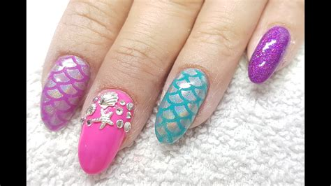 best gel nail l acrylic nails l gel l neon mermaid inspired l nail