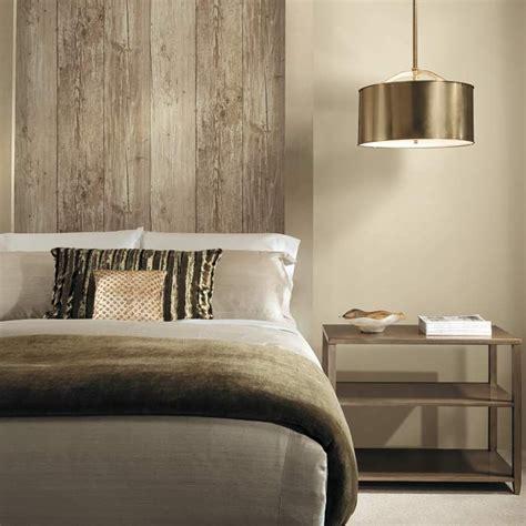 It's NOT wood! It's wallpaper! Get the look today!!   Bed ... Wood Wallpaper Bedroom