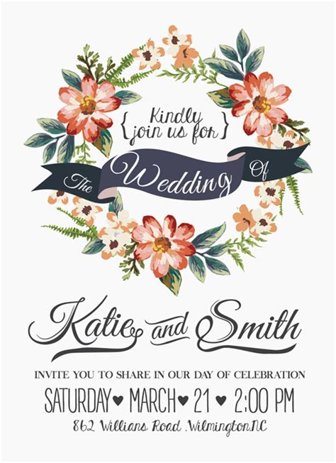 vintage flower wedding invitation background vector