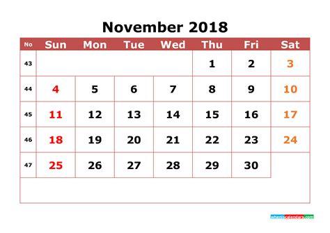 printable calendar numbers for november november 2018 calendar printable with week numbers image