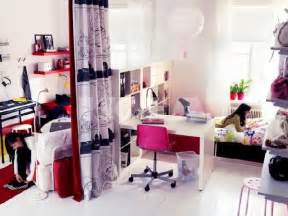 Teen girl bedroom with work space in pink and white teen girls work