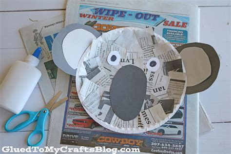 Koala Paper Plate Craft - newspaper koala kid craft glued to my crafts