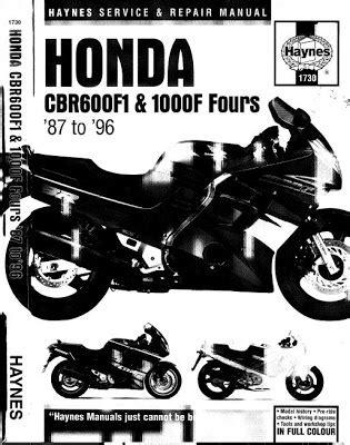 repair-manuals: Honda CBR600F1 1987-1996 Repair Manual