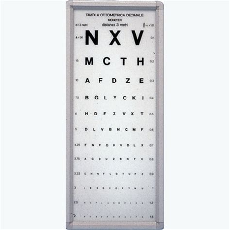 tavole optometriche ottotipo luminoso tavola ottometrica monoyer 3 metri