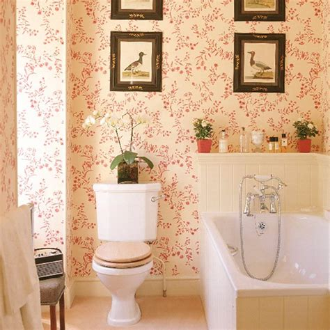 bathroom  red patterned wallpaper tongue  groove