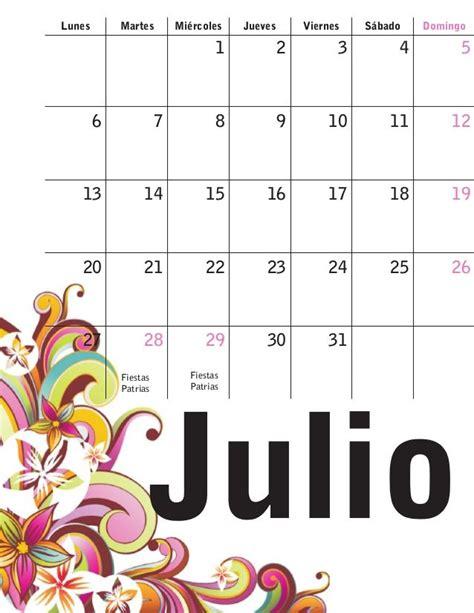 Calendario Julio 1000 Ideas About Calendario Julio On