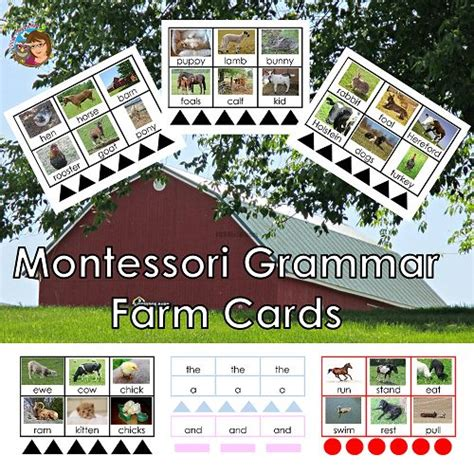 montessori grammar printable montessori grammar farm printable cards montessori