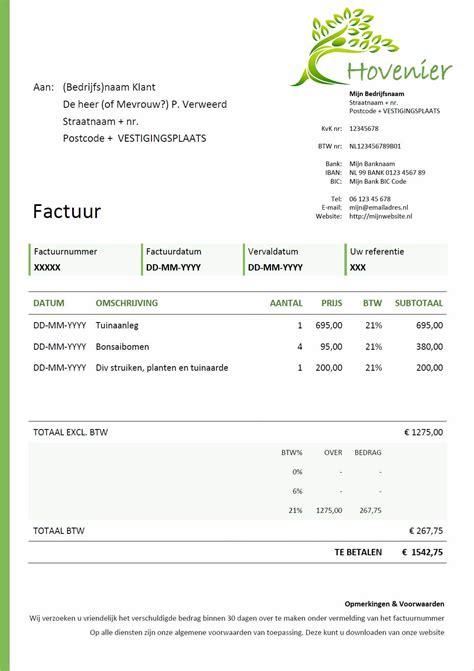 bedrijf aan huis voorbeelden factuur voorbeeld voor hovenier en tuinman