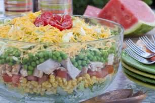 Easy Main Dishes For Potlucks - rainbow stacked salad mrfood com
