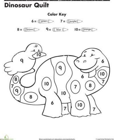 dinosaur math coloring pages coloring pages for kids preschool color by number
