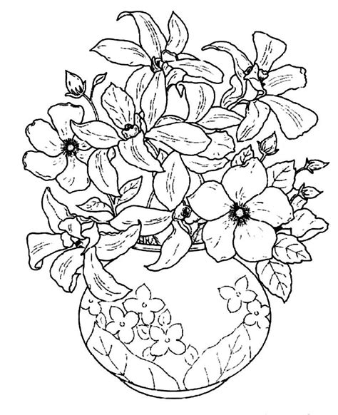 coloring page flowers in vase vase and flowers coloring page coloring home