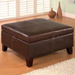 Faux Leather Storage Ottoman 149 14 Contemporary Square Faux Leather Storage Ottoman Ottomans Poufs 4