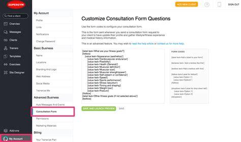 consultation form how do i customize the client consultation form