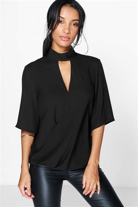 high cut out choker neck wrap front blouse at boohoo