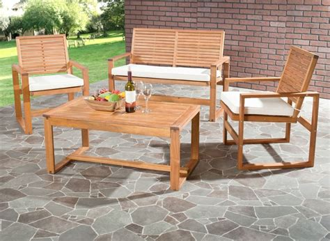 Acacia Wood Outdoor Furniture by Outdoor Living Cushioned Brown Acacia Wood 4 Patio