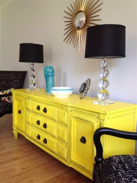 Sunny Yellow Vintage Sideboard Buffet Server Yellow Buffet