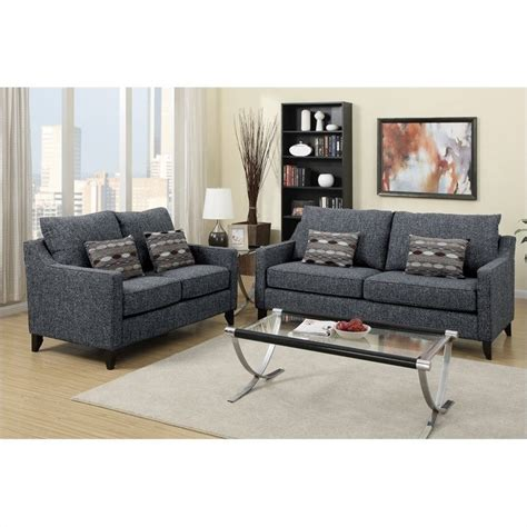 poundex bobkona connell sofa and loveseat set in gray