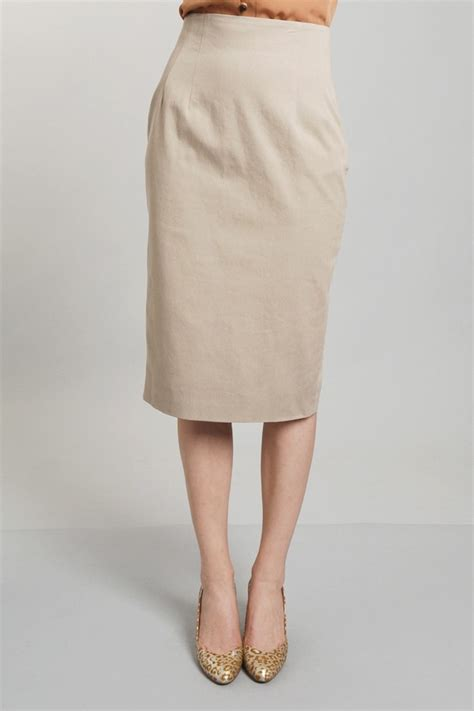 organic by drill pencil skirt in khaki in