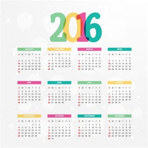 Calendario Vetor Colorful 2016 Calendar Template Vector Free