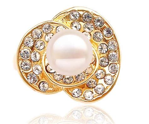 Caring Colours Illuminate Timeless Dac 02 Sea Gold 10gr 7 8mm freshwater pearl ring 18k gold overlay