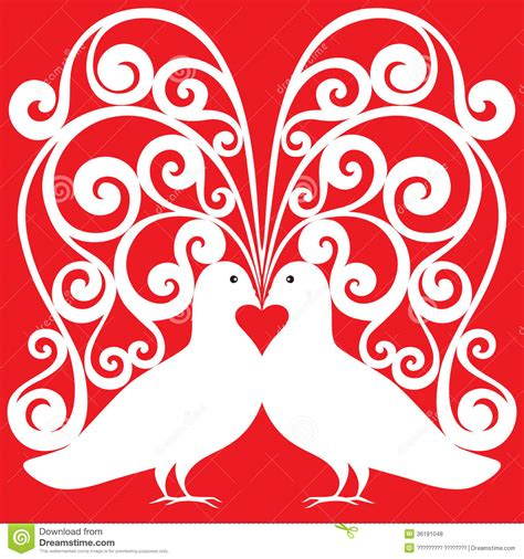 Wedding Card Design Patterns by White Doves Pair Pattern With A Symb Royalty