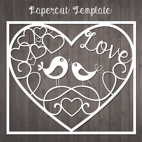 Papercut Template Birds In Love Paper Cut Template To Cut Paper Cut Out Templates