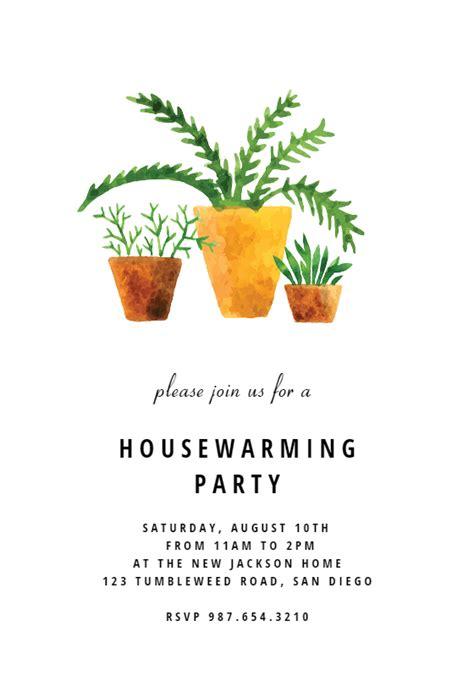 house plants housewarming invitation template