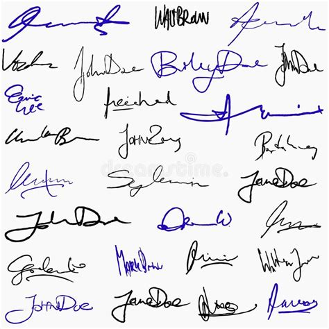 Signature Set Free by Collection Of Signatures Stock Vector Image Of Sign