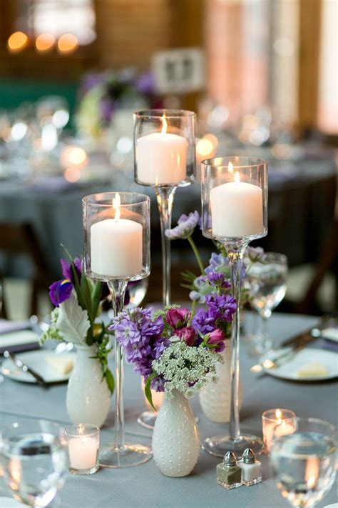 Bud Vase And Tall Candle Centerpiece Votive Holder Candle And Flower Centerpieces